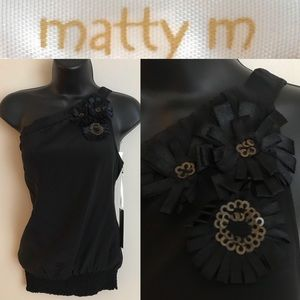 matty m one-shoulder top in black-100% SILK